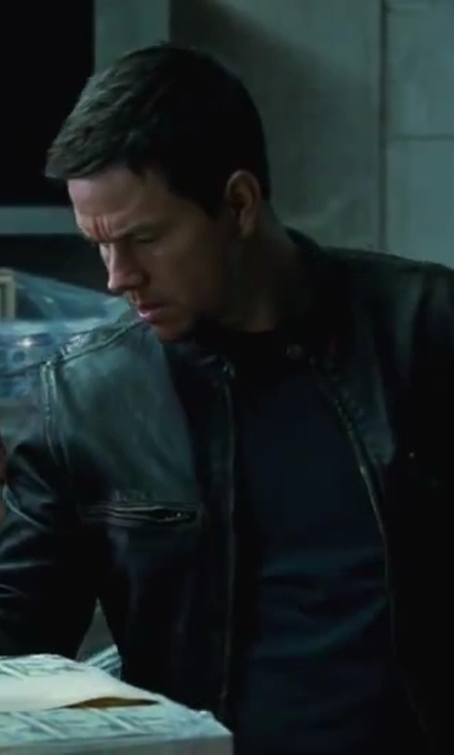 Mark Wahlberg with J.Crew Stockton Racer Jacket in Contraband