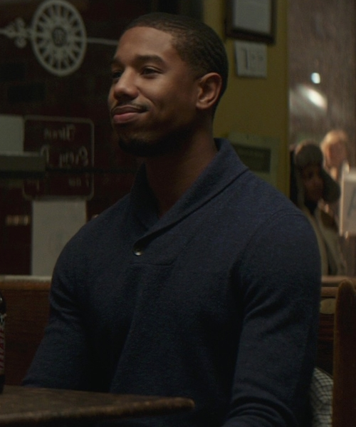 Michael B. Jordan with Nordstrom Shawl Collar Cashmere Sweater in That Awkward Moment