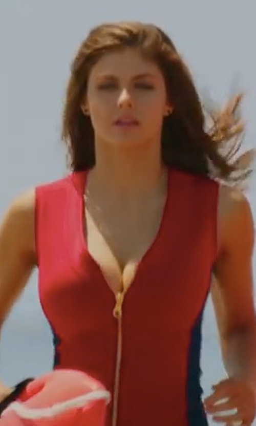 Alexandra Daddario with Dayna Pink (Costume Designer) Custom Made Lifeguard Full Zip Two Piece Swimsuit in Baywatch