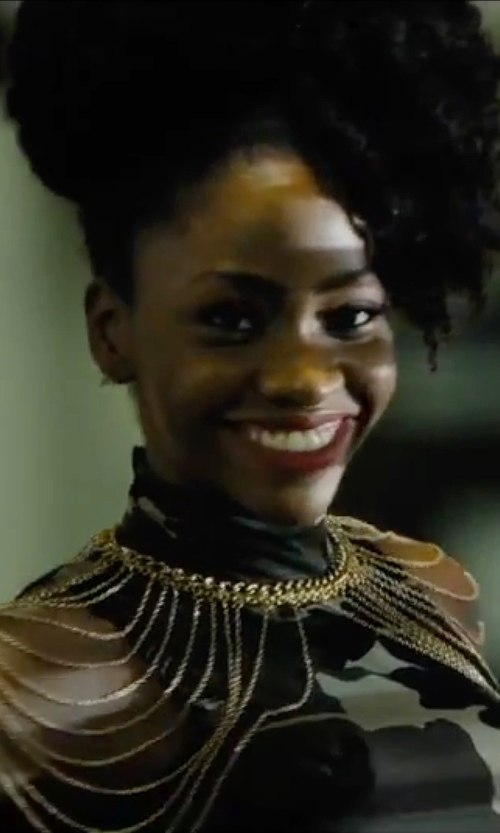 Teyonah Parris with Fandsway Halter Style Sleeveles Dress in Chi-Raq