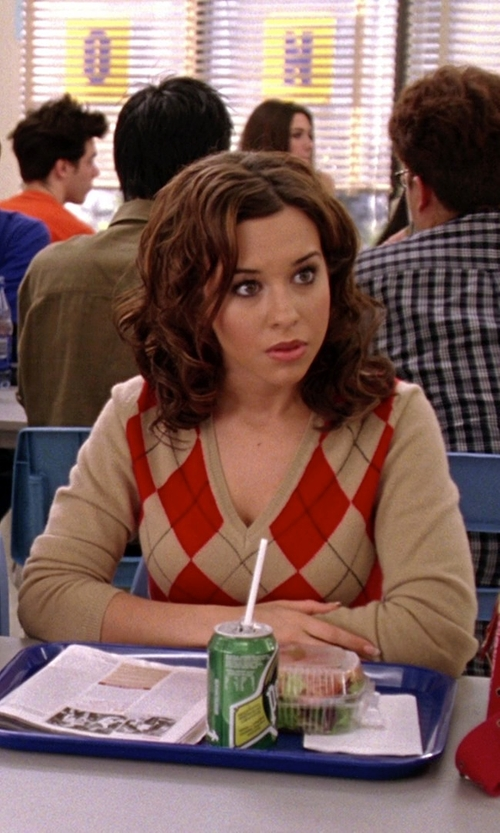 Lacey Chabert with Scottish Wear Ladies Cashmere Argyle V-Neck Sweater in Mean Girls