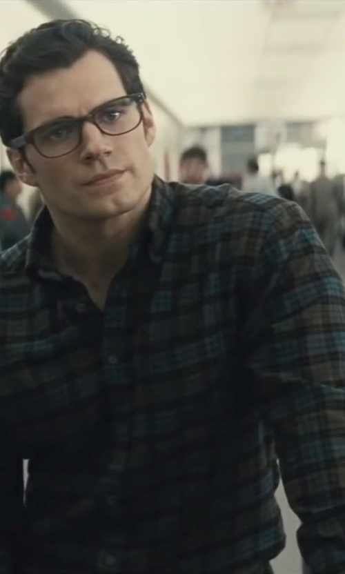 Henry Cavill with Theory Zack Plaid Long-Sleeve Shirt in Batman v Superman: Dawn of Justice
