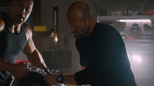 Jason Statham with Emporio Armani Signature Dial Leather Strap Watch in The Fate of the Furious