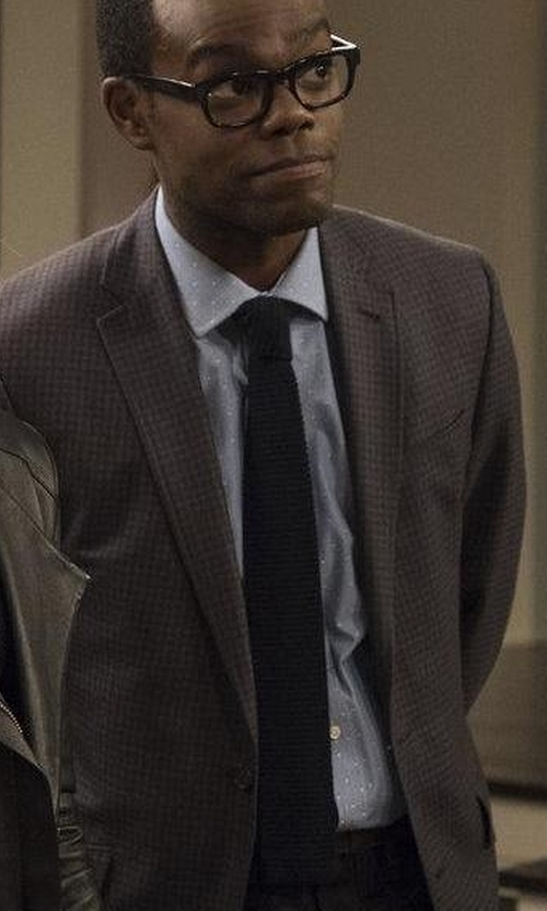 William Jackson Harper with Nordstrom Men's Shop Stuart Silk Knit Tie in The Good Place