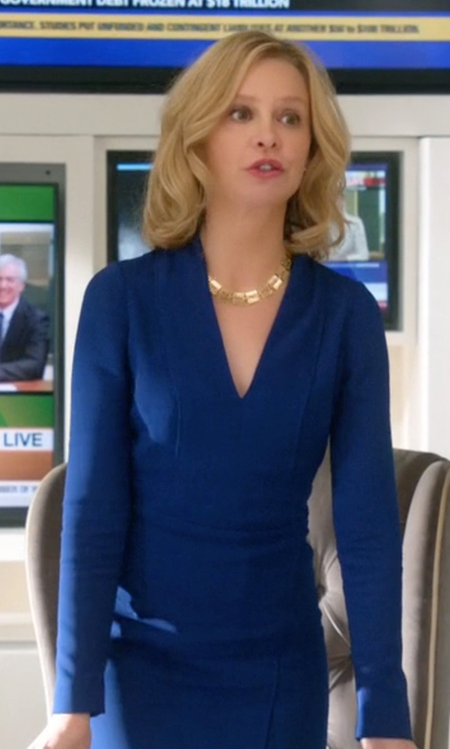Calista Flockhart with Nicole Miller Ponte V-Neck Stretch Long Sleeve Dress in Supergirl