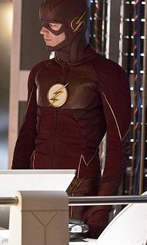 Grant Gustin with Kate Main (Costume Designer) Custom Made 'The Flash' Costume in The Flash