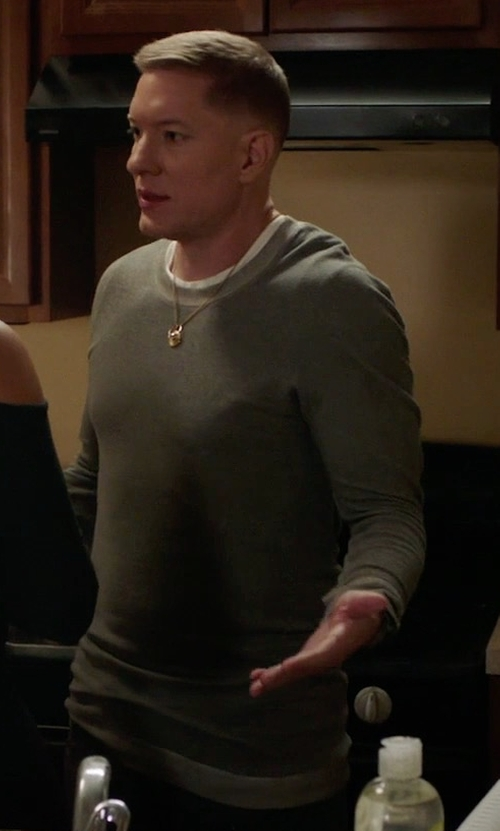 Joseph Sikora with Vince Double-Knit Long-Sleeve Crewneck T-Shirt in Power