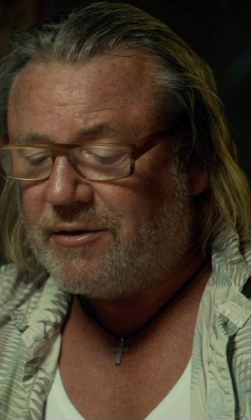 Ray Winstone with The Black Bow Leather Cord Cross Necklace in The Gunman