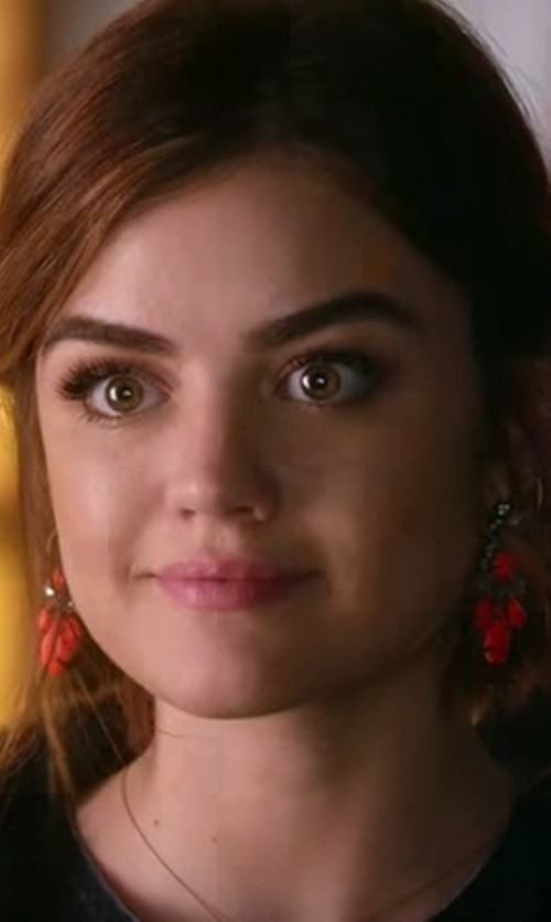 Lucy Hale with INC International Concepts Wine Stone and Pavé Chandelier Earrings in Pretty Little Liars