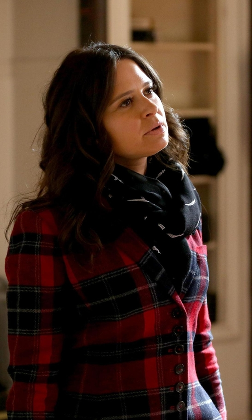 Katie Lowes with Tagliatore Check Print Blazer in Scandal