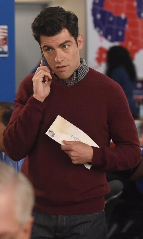 Max Greenfield with Private Label Cashmere-Silk V-Neck Sweater in New Girl