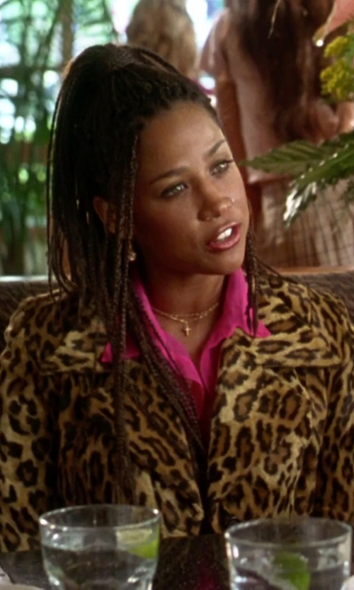 Stacey Dash with Sugar Bean Jewelry Cross Pendant Necklace in Clueless