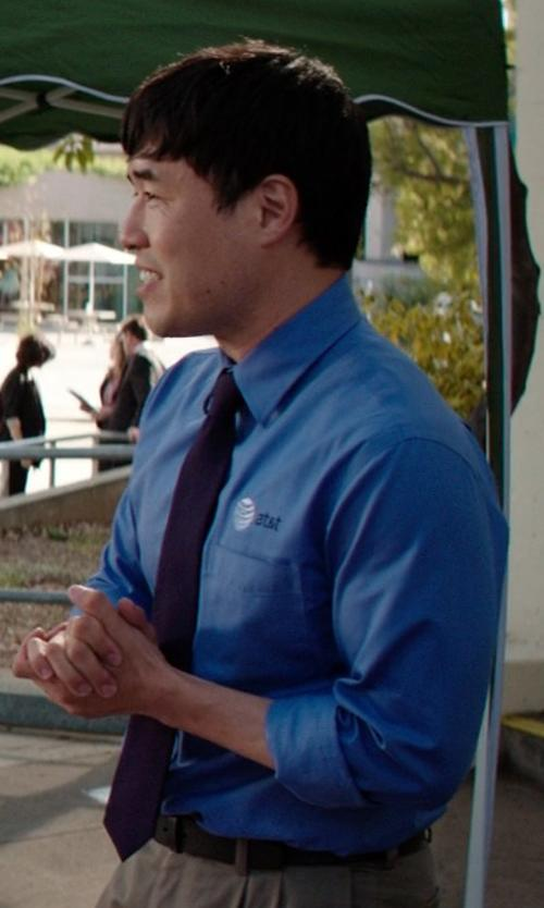Randall Park with Ike Behar Black Label Solid Crosby Button Front Dress Shirt in Neighbors
