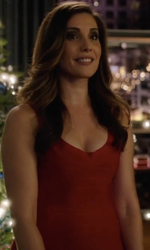 Carly Pope with Herve Leger Scoop-Neck Bandage Dress in Arrow