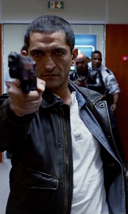 Amr Waked with John Varvatos Star U.S.A Leather Zip-Front Jacket in Lucy
