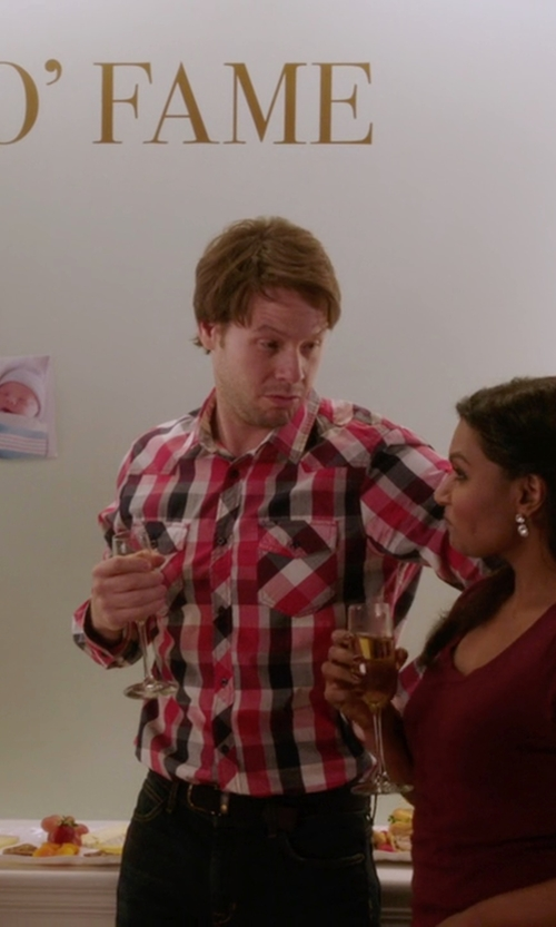 Ike Barinholtz with Ralph Lauren Plaid Cotton Western Shirt in The Mindy Project