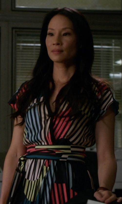 Lucy Liu with Diane von Furstenberg 'Rilia' Silk Dress in Elementary