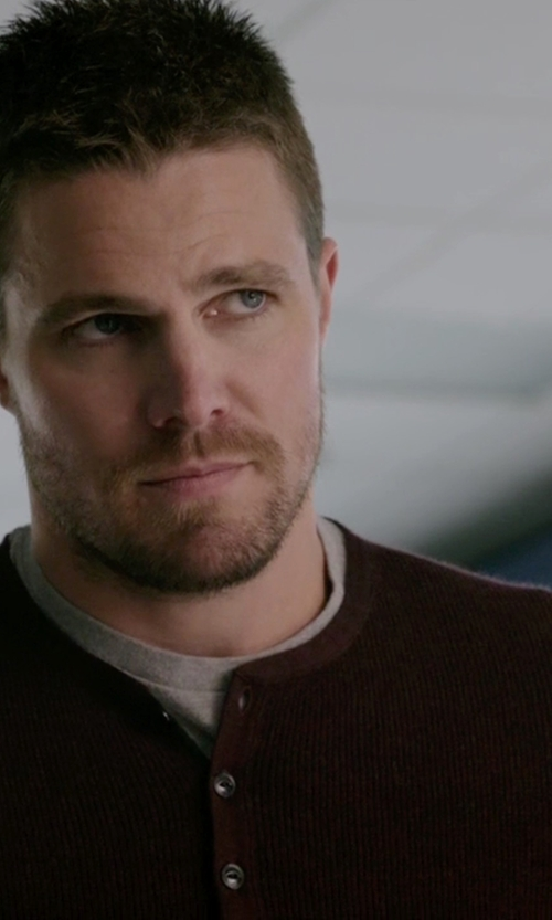 Stephen Amell with Tailor Vintage Cotton Long Sleeve Henley Shirt in Arrow