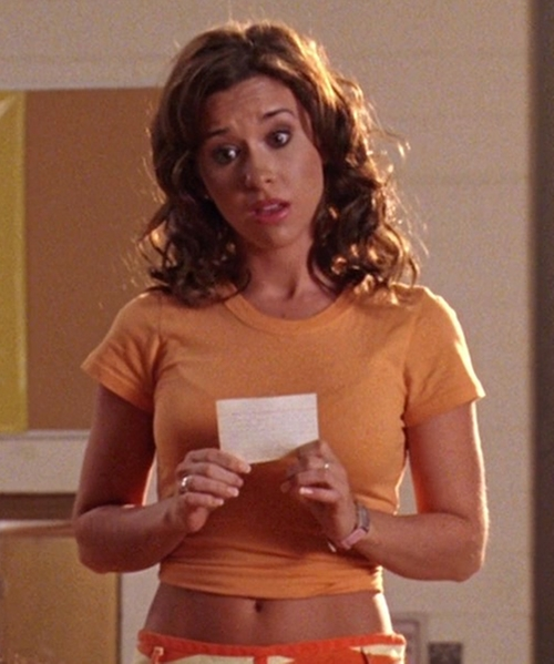 Lacey Chabert with Juliet's Kiss Womens Fluro Crepe Cap Sleeve Crop Top in Mean Girls