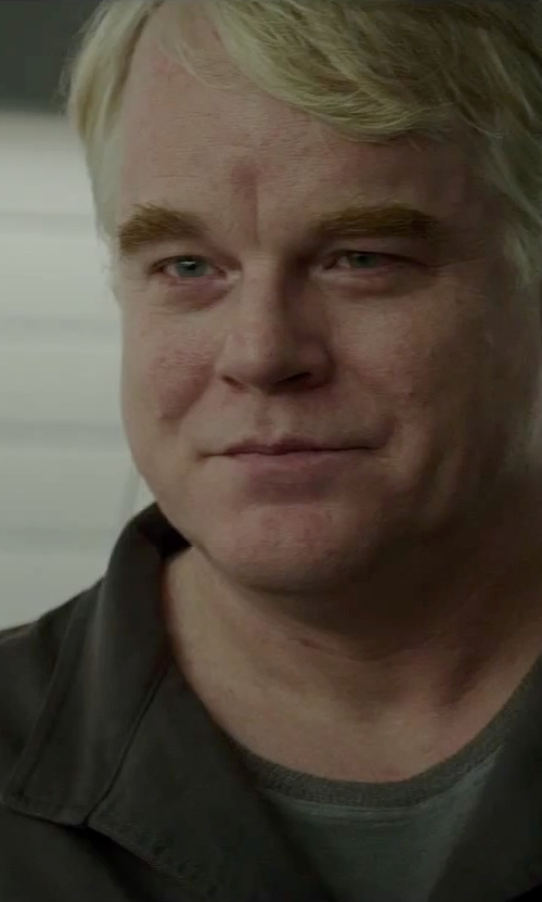 Philip Seymour Hoffman with Carhartt Twill Long Sleeve Work Shirt in The Hunger Games: Mockingjay - Part 2
