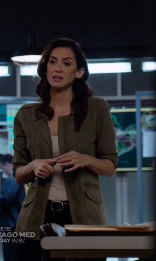 Mozhan Marnò with Lucky Brand Core Military Jacket in The Blacklist