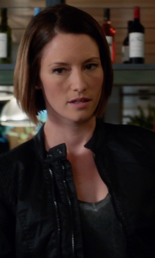 Chyler Leigh with Members Only Faux Leather Snakeskin Bomber Jacket in Supergirl