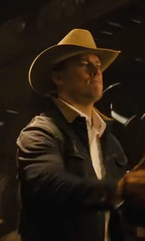 Channing Tatum with John Wayne Wool Peacemaker Cowboy Hat in Kingsman: The Golden Circle
