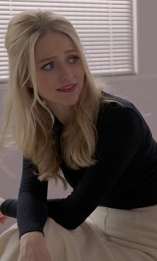 Johanna Braddy with Neiman Marcus Cashmere Collection Long-Sleeve Crewneck Cashmere Sweater in Quantico