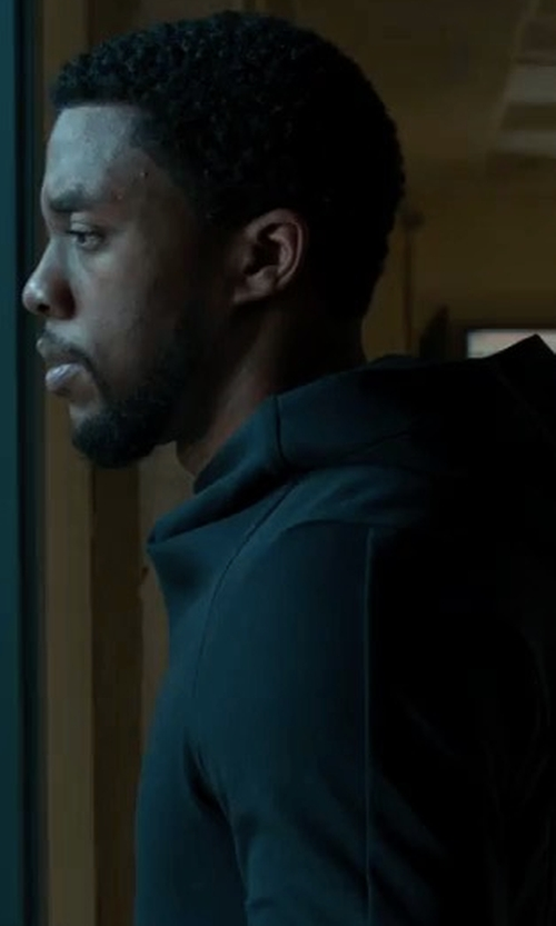 Chadwick Boseman with Vince Wool-Cashmere Pullover Hoodie in Black Panther