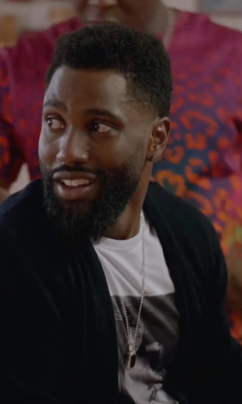 John David Washington with Theory Rothley Merino Wool Cardigan in Ballers