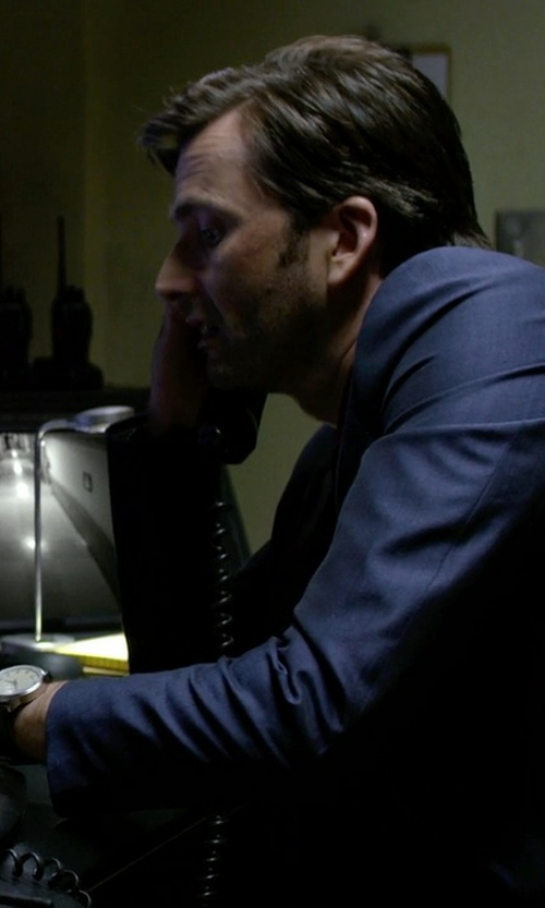 David Tennant with Boss Hugo Boss Silver Dial Leather Watch in Jessica Jones