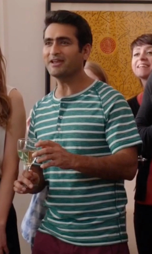 Kumail Nanjiani with Ecko Unltd. Captain Jack Stripe Henley Shirt in Silicon Valley