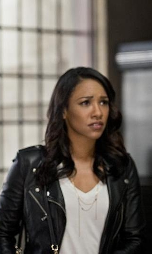 Candice Patton with BCBGmaxazria Faux-Leather Moto Jacket in The Flash