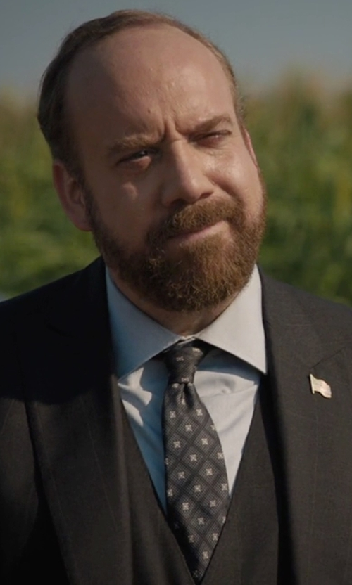 Paul Giamatti with Black Brown 1826 Silk Diamond Print Tie in Billions