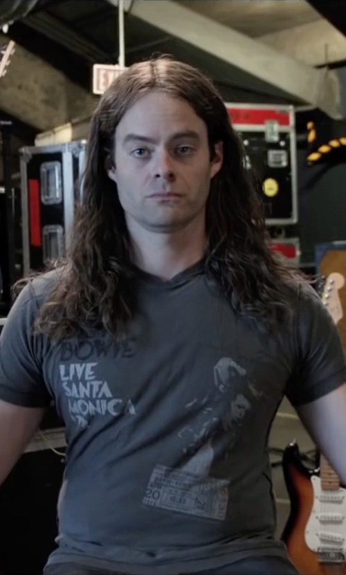 Bill Hader with Merchbar David Bowie Live In Santa Monica '72 T-Shirt in Popstar: Never Stop Never Stopping