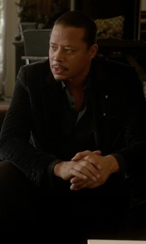Terrence Howard  with Armani Collezioni R-Line Textured Velvet Two-Button Sport Coat in Empire