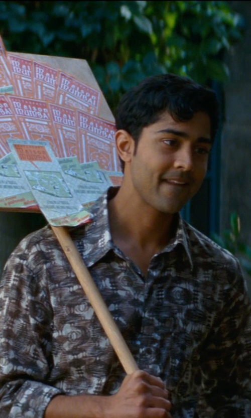 Manish Dayal with Sidian, Ersatz & Vanes Geometric Print Shirt in The Hundred-Foot Journey