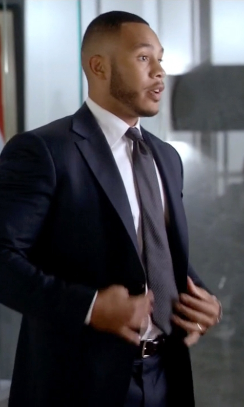 Trai Byers with Boss Hugo Boss Hutson Gander Slim-Fit Two-Piece Suit in Empire
