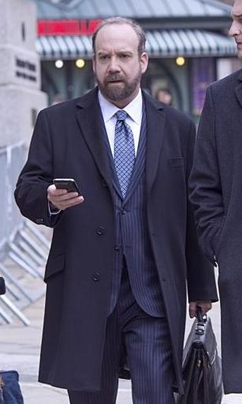 Paul Giamatti with Z Zegna Single Breasted Coat in Billions