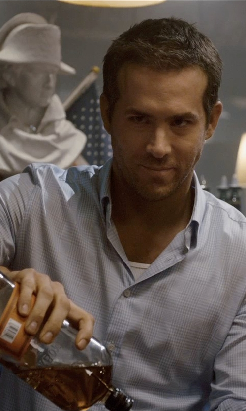 Ryan Reynolds with Bulleit Rye Frontier Whiskey in Self/Less