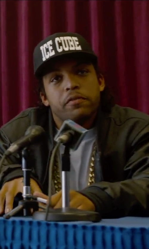 O'Shea Jackson Jr. with KR3W Burnett Faux-Leather Bomber Jacket in Straight Outta Compton