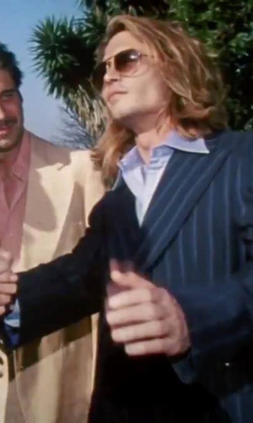 Johnny Depp with Bonobos Trim Fit Stripe Cotton & Linen Sport Coat in Blow