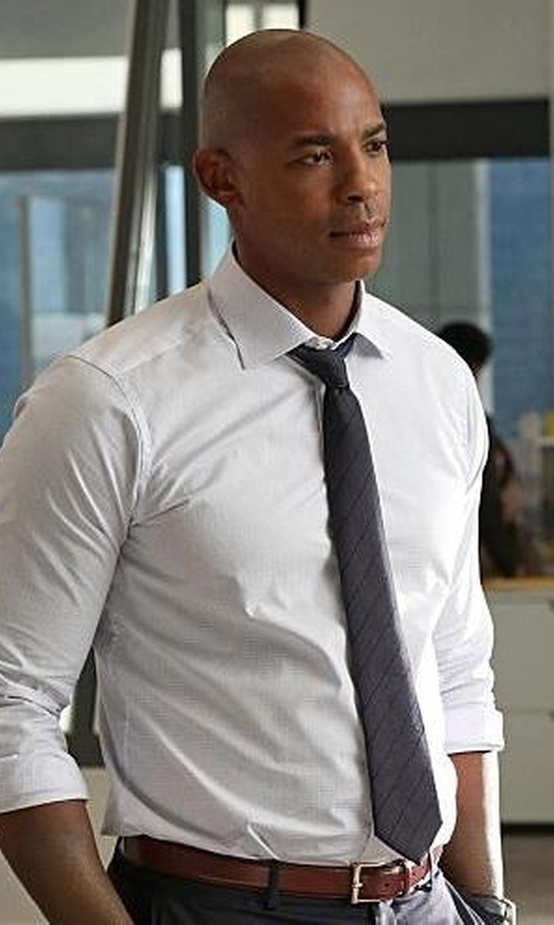 Mehcad Brooks with Crockett & Jones Leather Belt in Supergirl