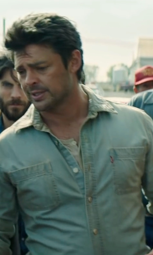 Karl Urban with Boss Orange Silicone Strap Watch in Pete's Dragon
