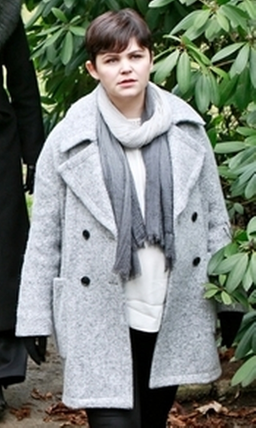 Ginnifer Goodwin with Mih Jeans Larking Wool Blend Coat in Once Upon a Time