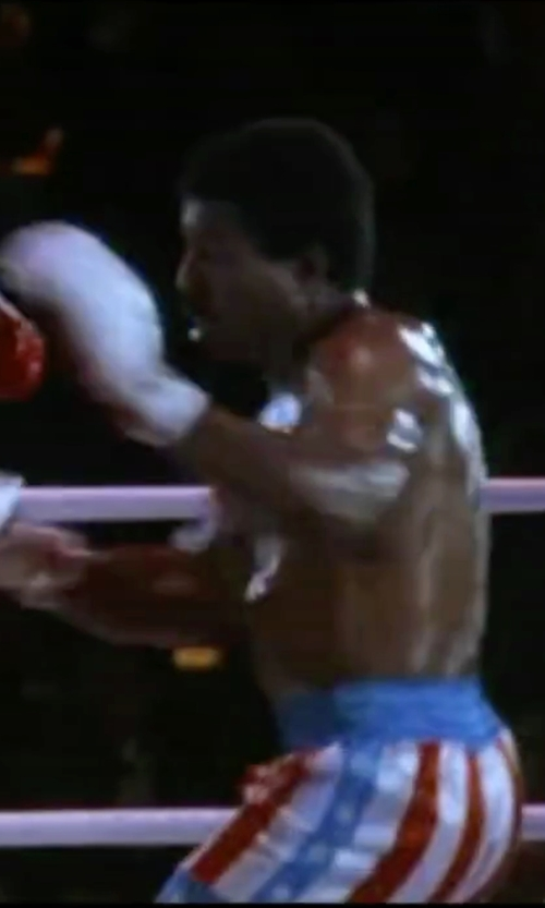 Carl Weathers with Trick Or Treat Studios Apollo Creed Boxing Trunks in Rocky IV