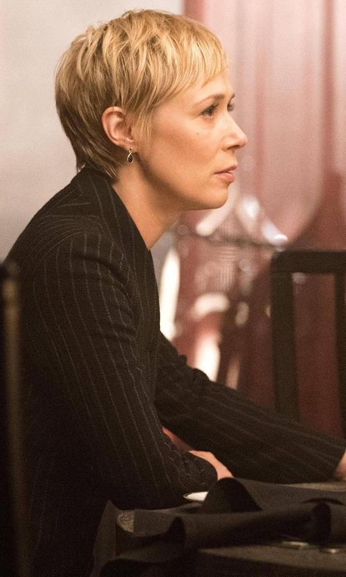 Liza Weil with Saint Laurent Pinstriped Wool Two-Button Blazer in How To Get Away With Murder