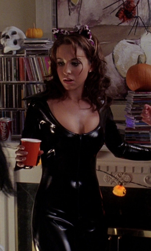Lacey Chabert with Charades Cat Suit Too Adult Costume in Mean Girls