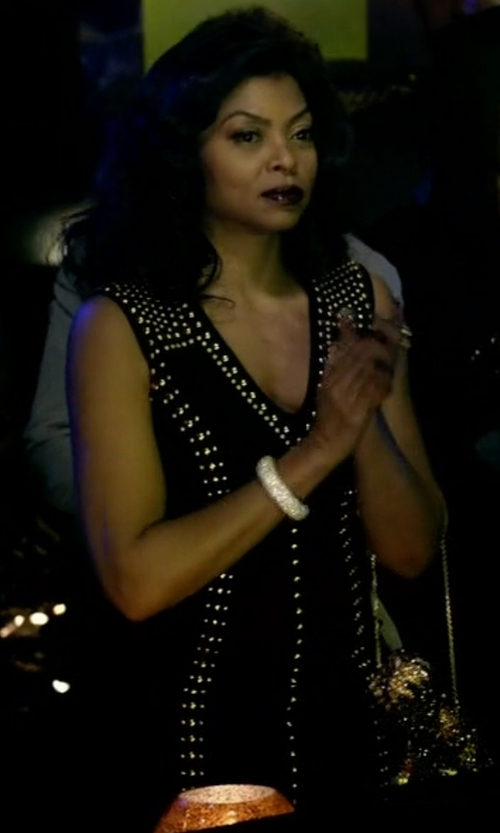 Taraji P. Henson with Versace Collection Studded V-Neck Sheath Dress in Empire