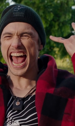 James Franco with H.N. Williams Store Men's Johnson Wool Checkered Red Hunting Coat in Why Him?
